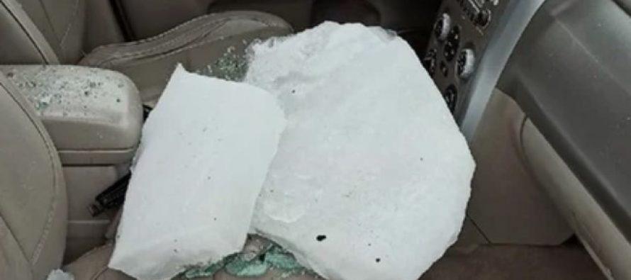 Обрушившаяся на автомобиль глыба льда чуть не убила рязанку