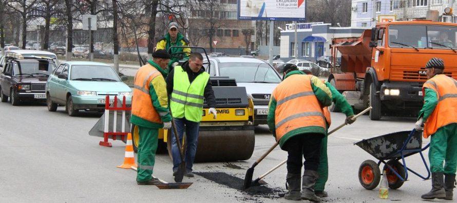 В Рязани за 48 часов отремонтировали более 160 кв. метров дорог