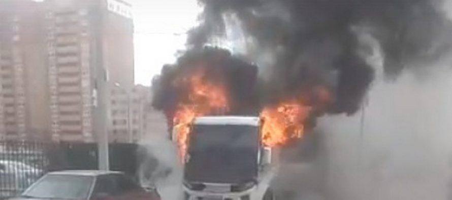 ВРязани сгорел пассажирский микроавтобус