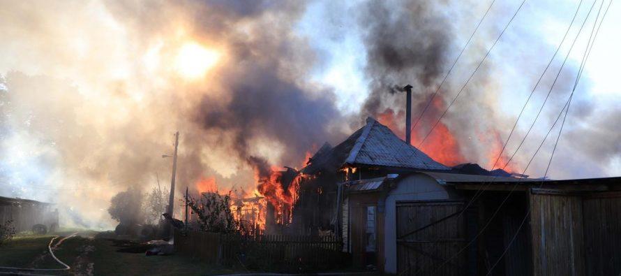 В Спасском районе из-за пала сухой травы выгорела деревня
