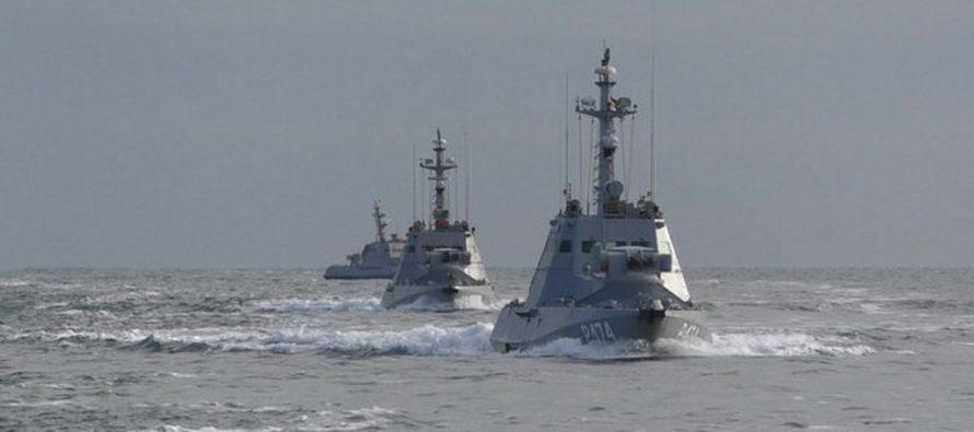 Российский корабль вынудил отступить украинский катер самериканскими журналистами