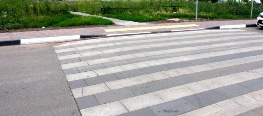 В Рязани на ул. Березовой оборудовали экспериментальные пешеходные переходы