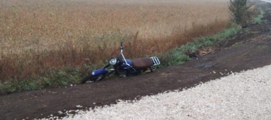 В Сараевском районе пьяный мотоциклист превысил скорость и вылетел в кювет